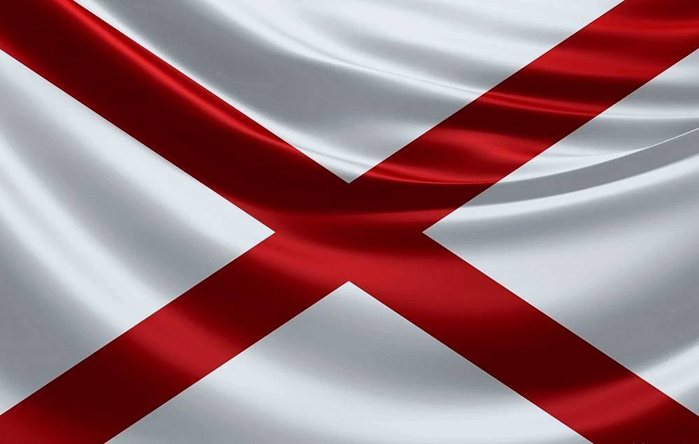 Alabama Flag (Alabama's facts maps and major attractions.)