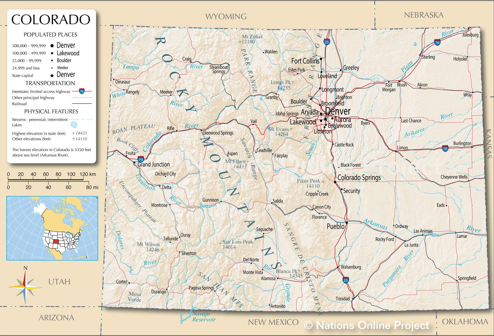 Colorado detailed map.