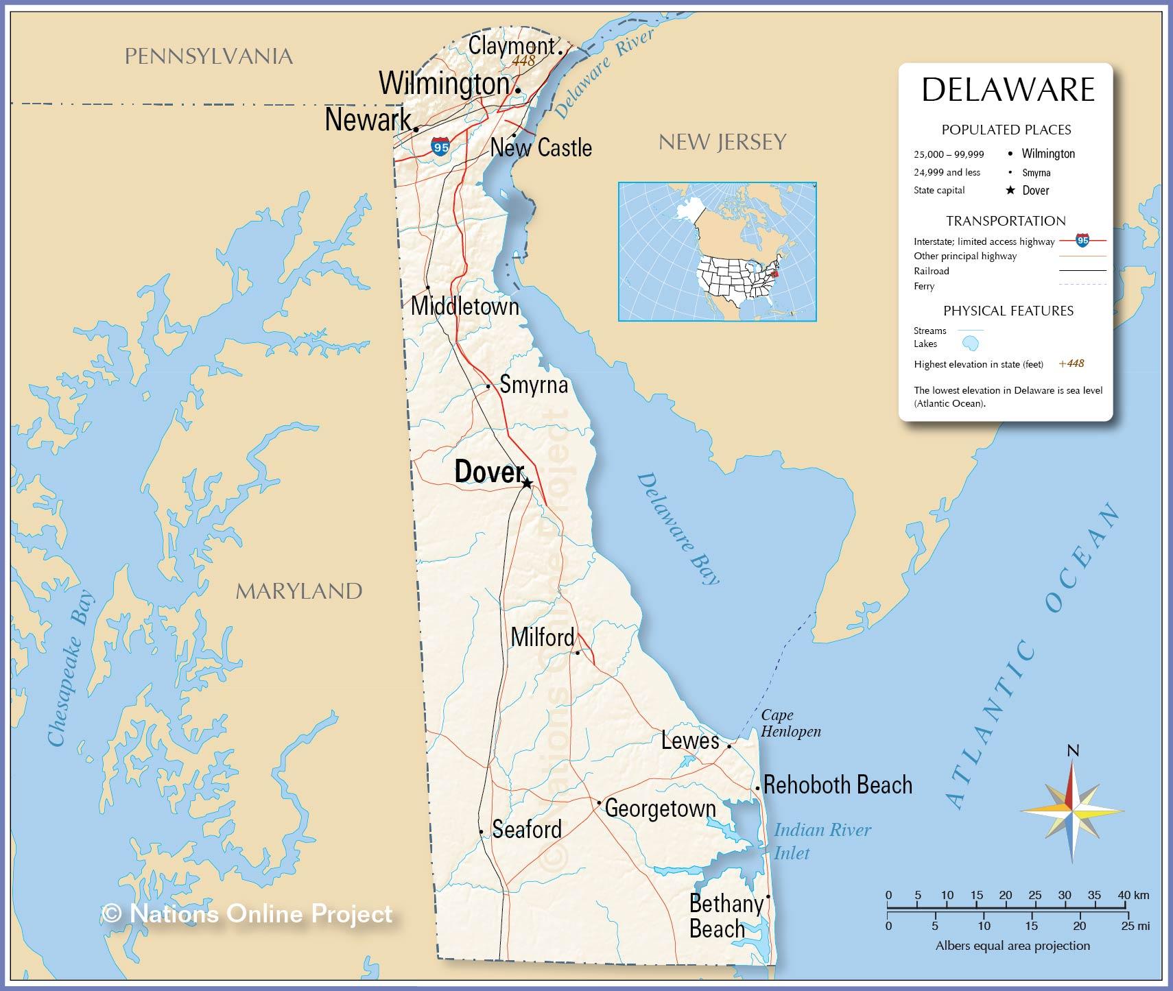 Delaware Detailed map
