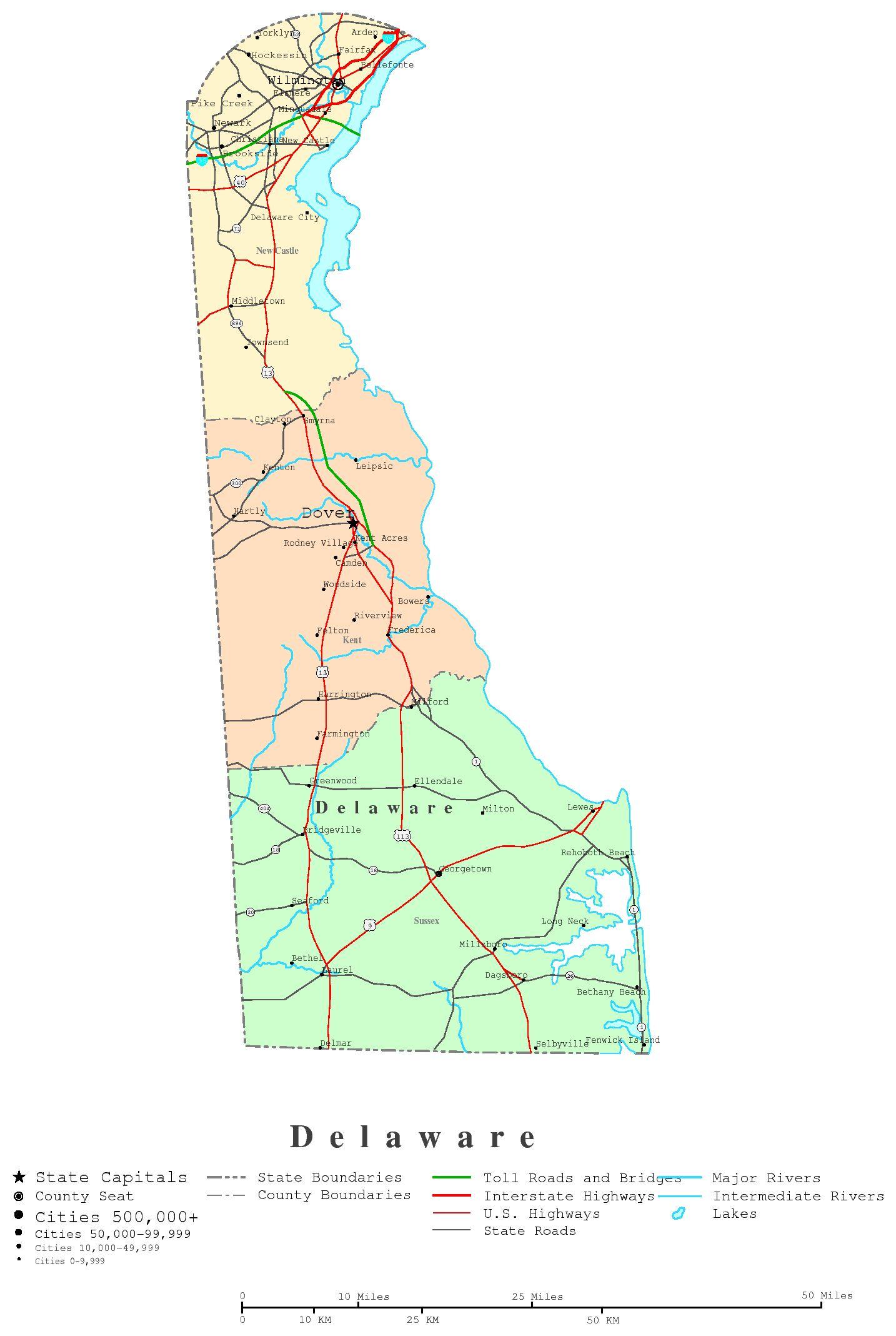 Delaware printable map