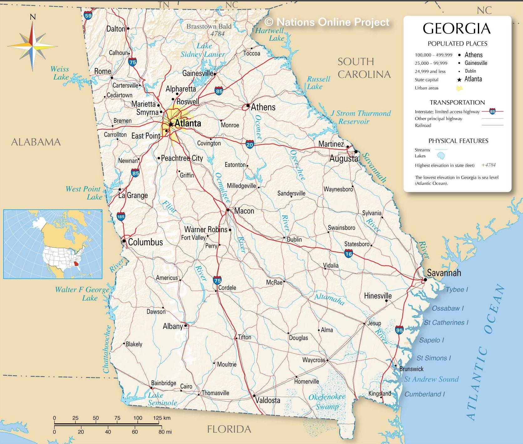 Georgia Detailed Map