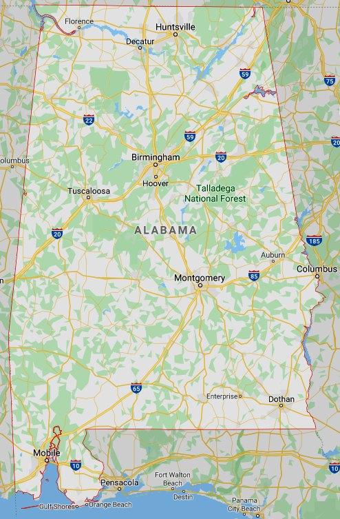 Google map of Alabama