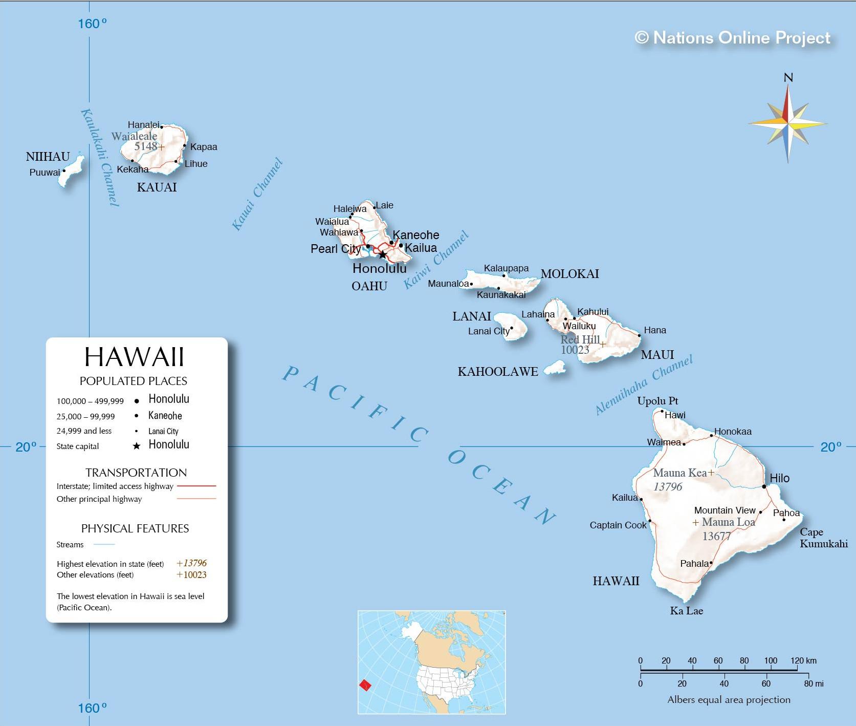 Hawaii detailed map.