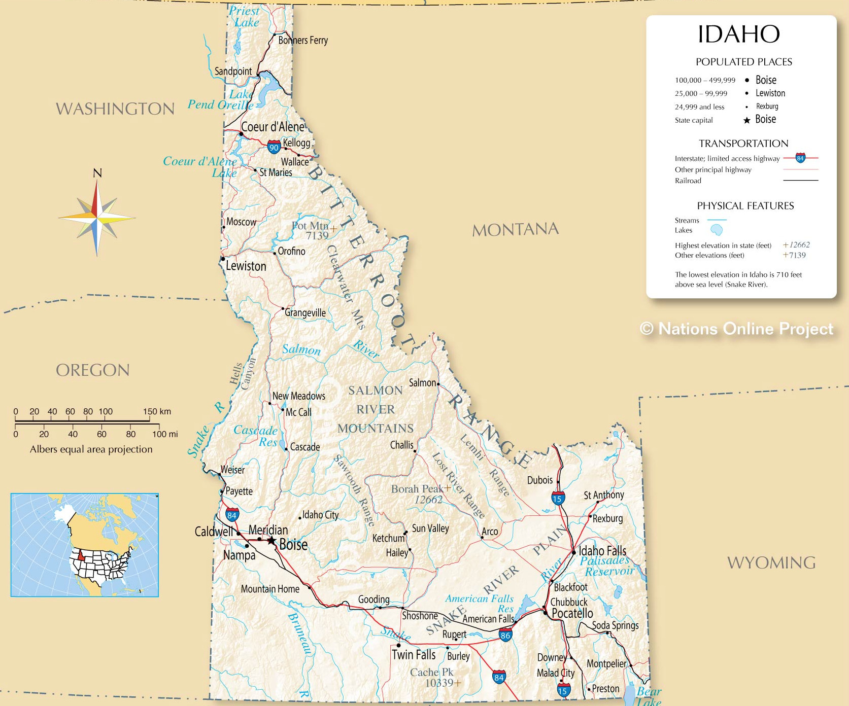Idaho detailed map.