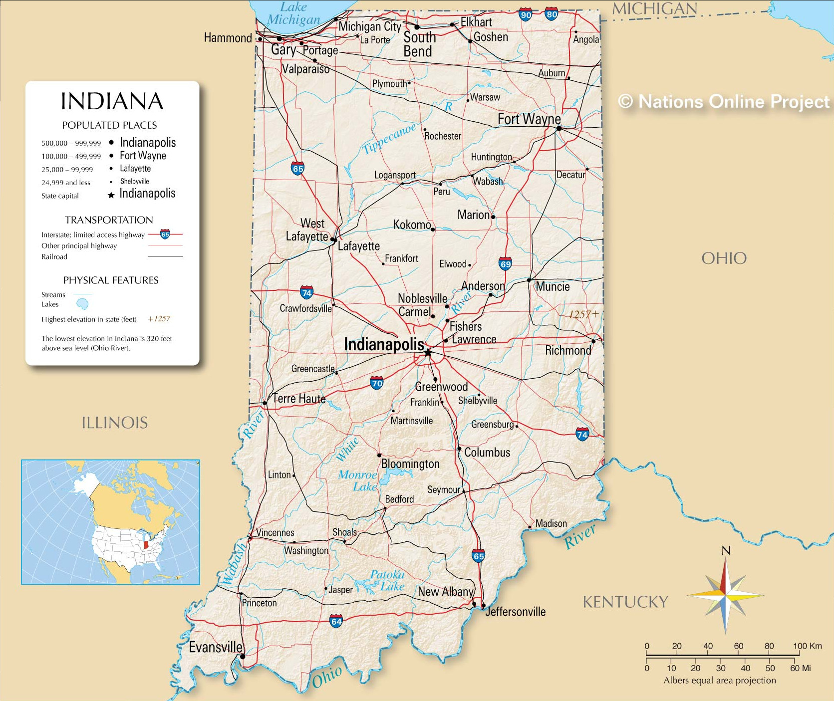 Detailed map of Indiana