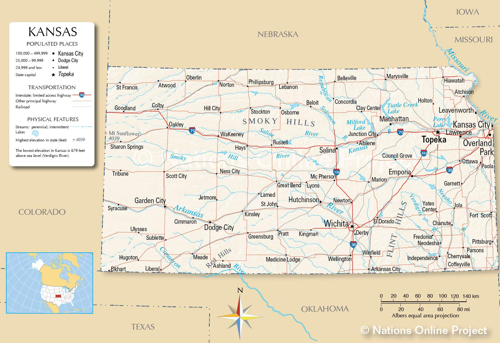 Kansas detailed map.