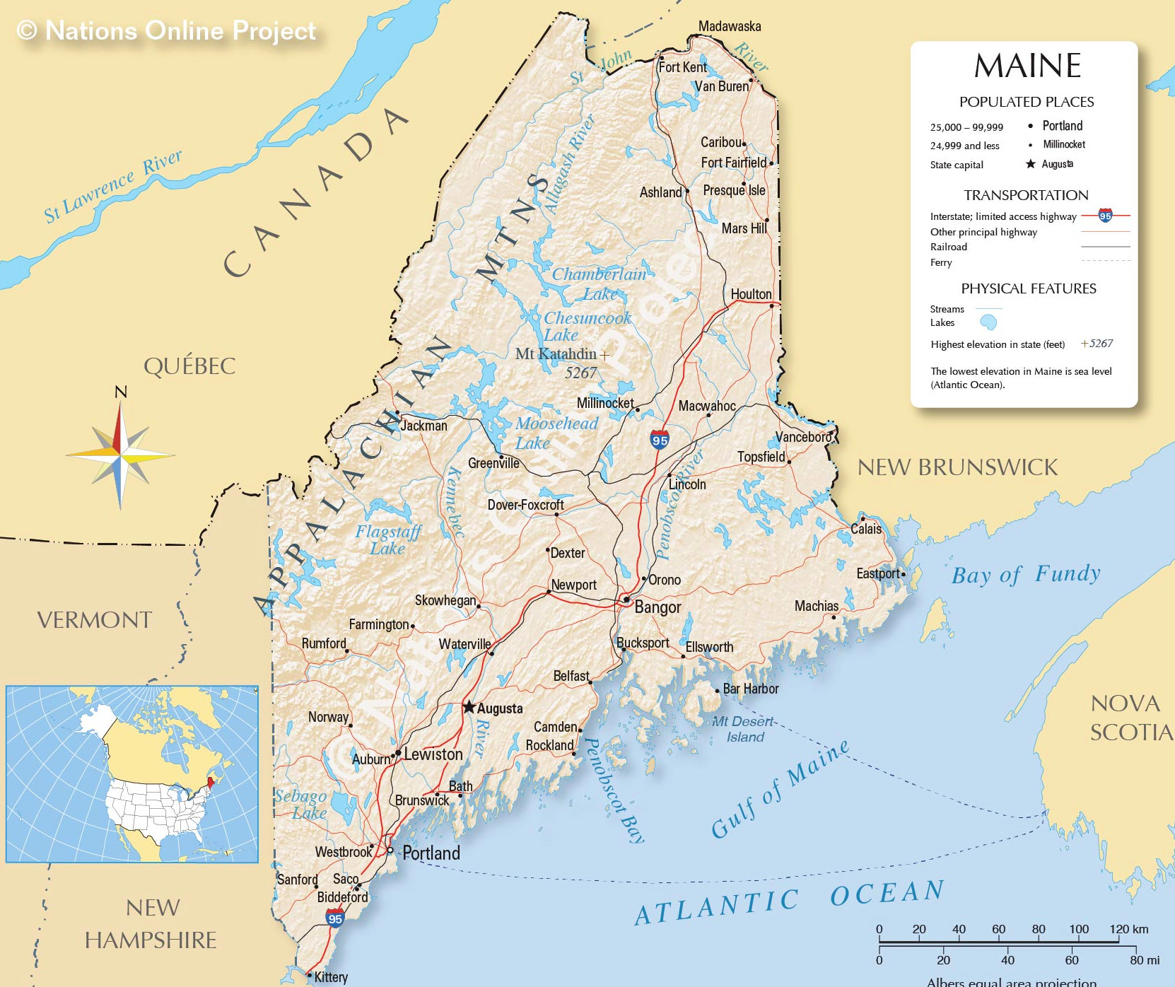 Maine detailed map