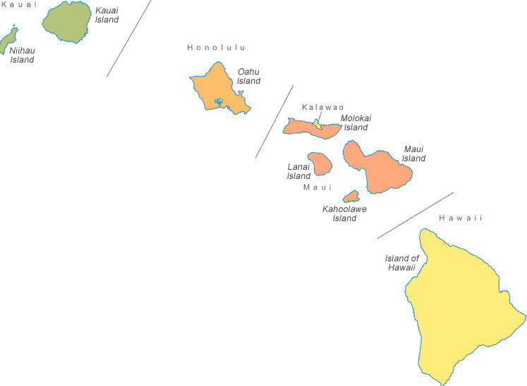 Printable map of Hawaii