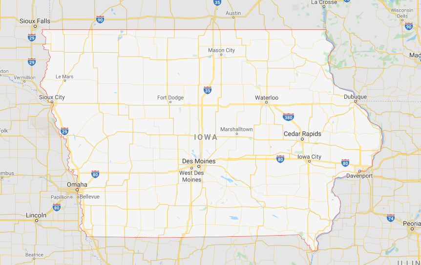 Google map of Iowa