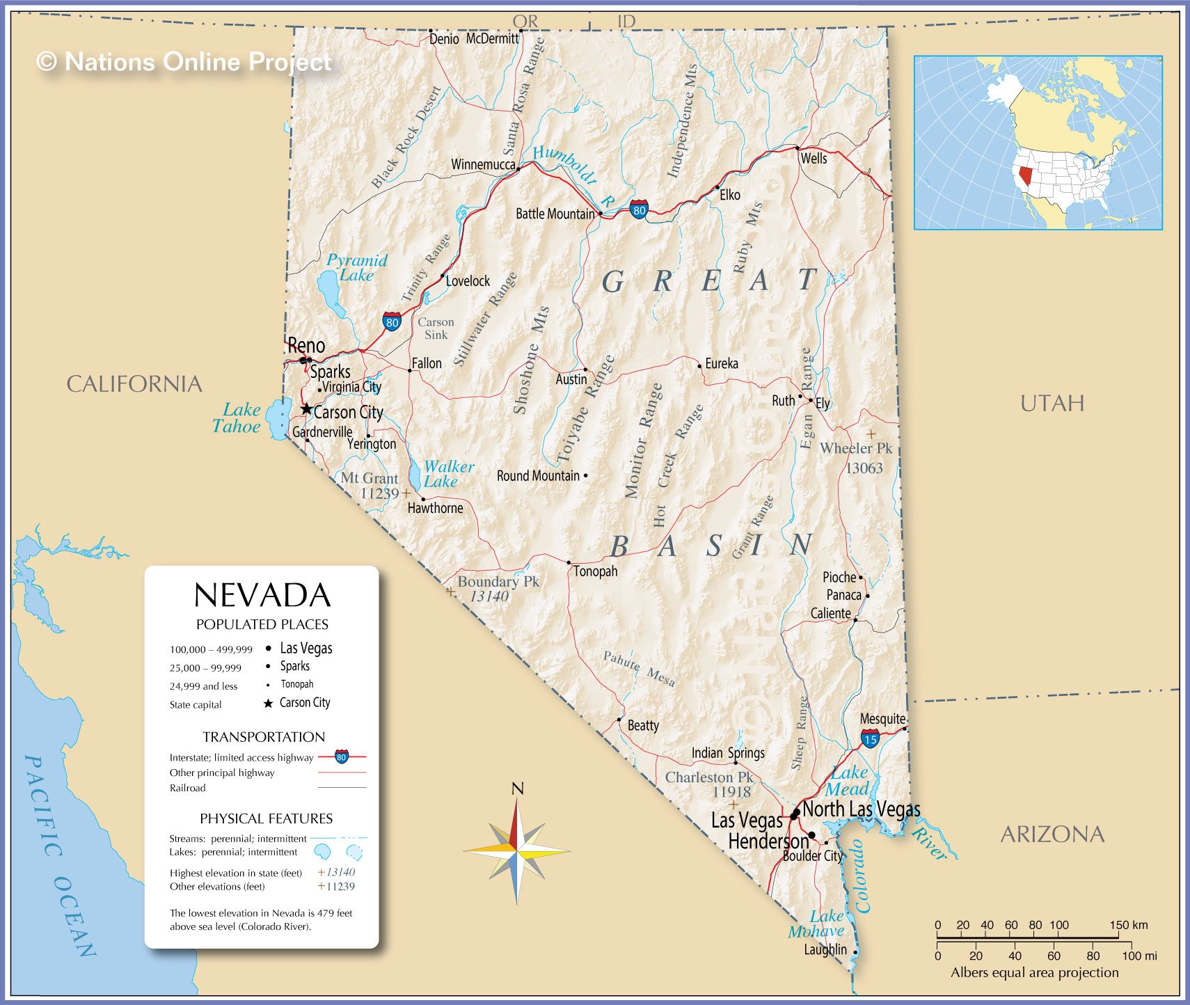 Nevada detailed map