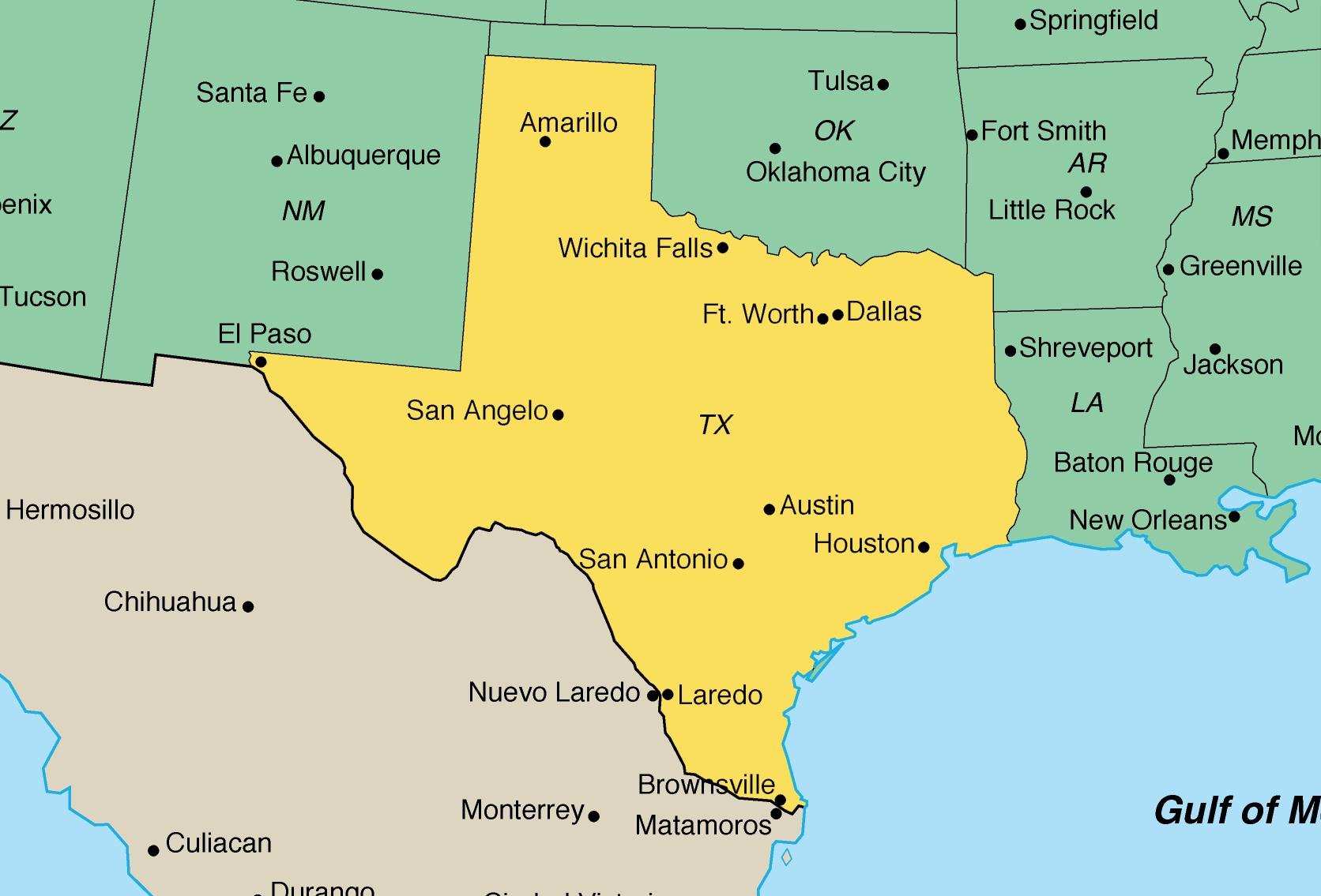Printable Map of Texas