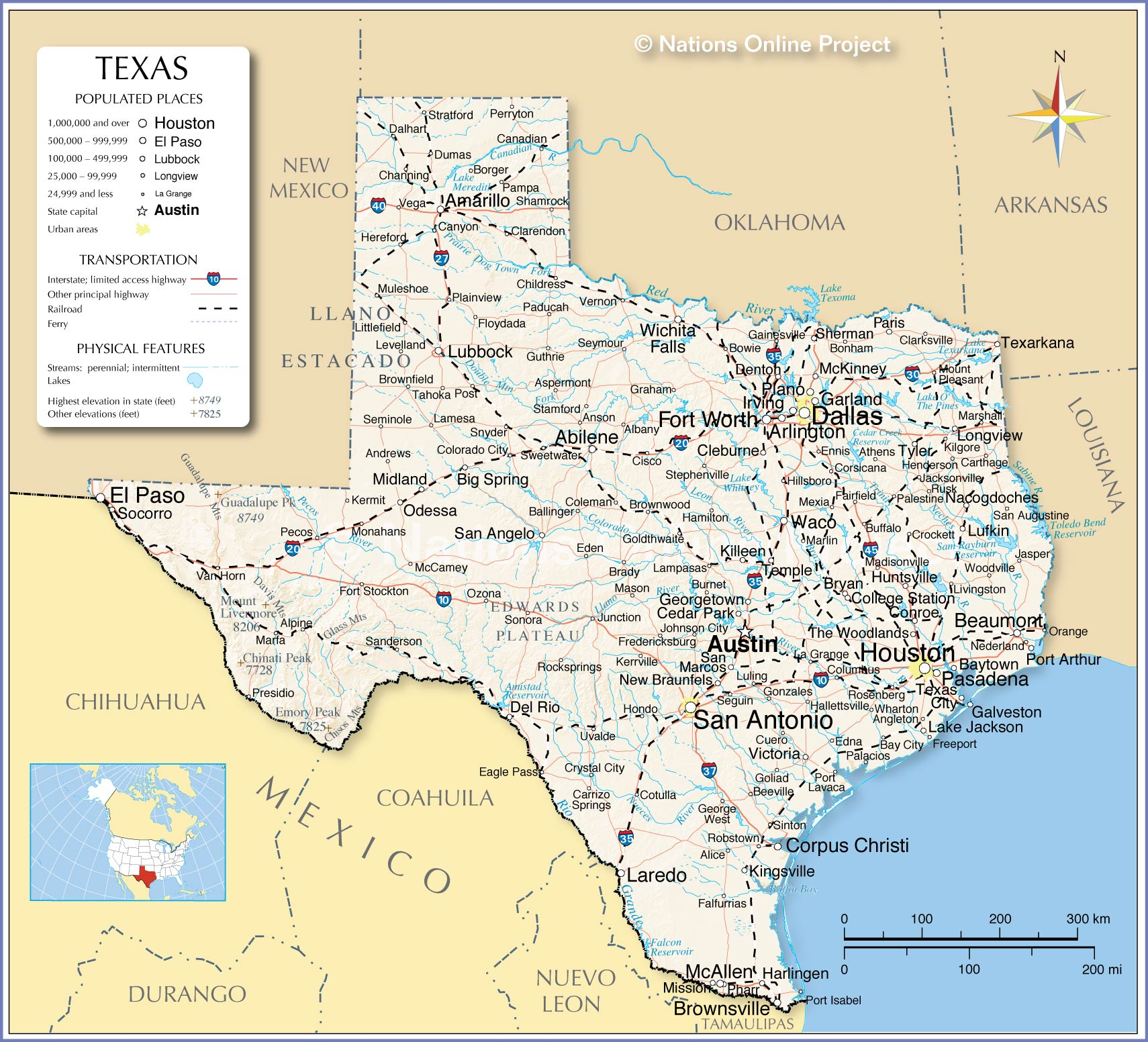 Texas detailed map