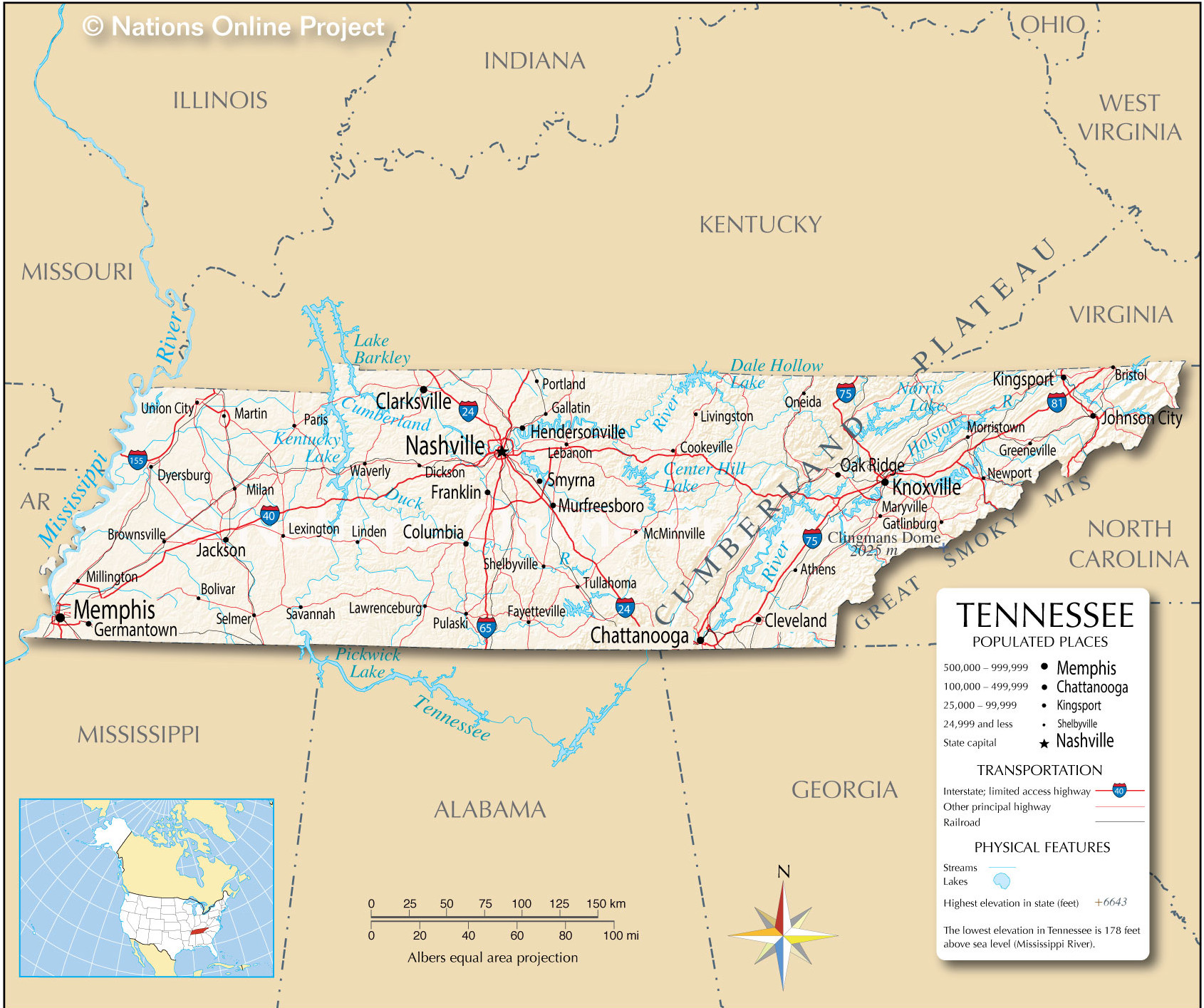 Detailed map of Tennessee