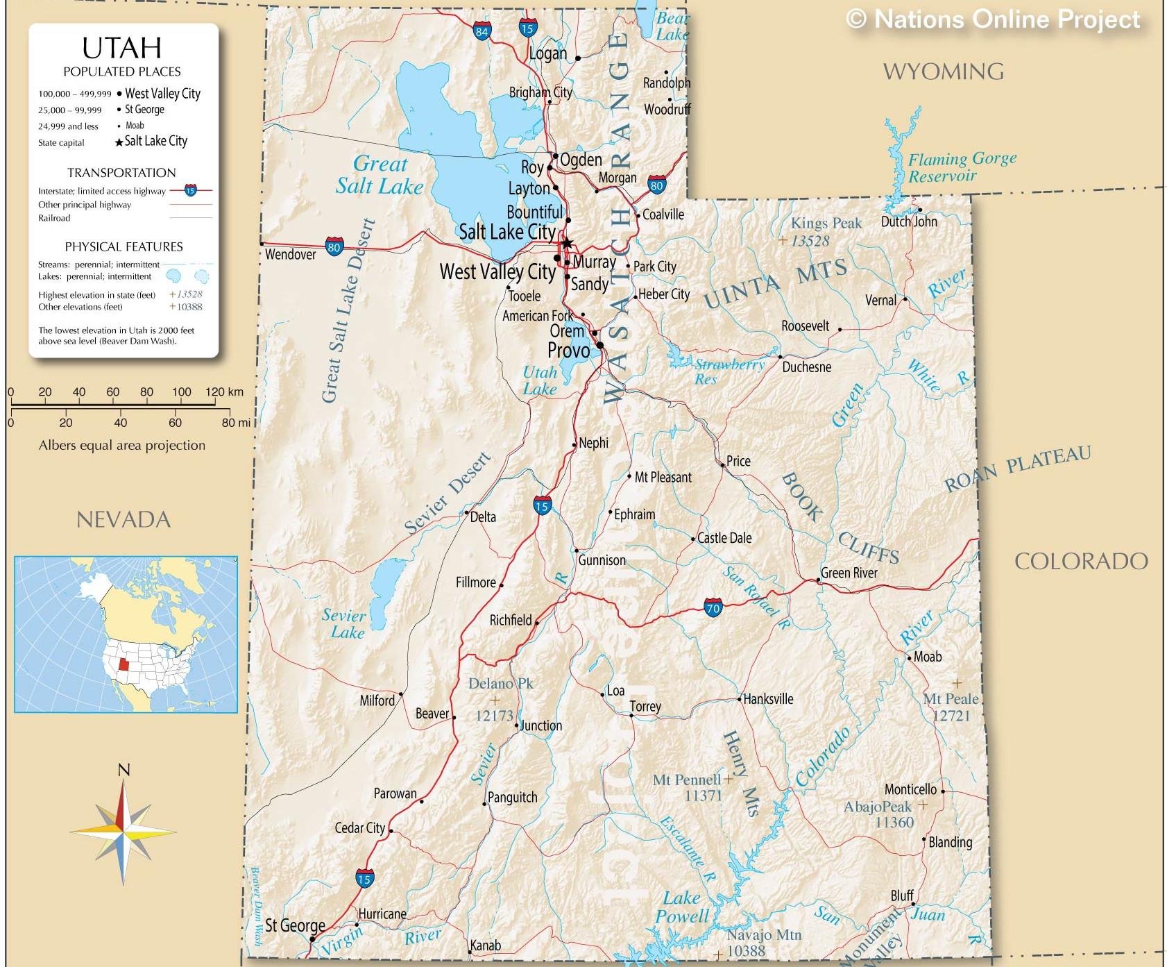 Detailed map of utah