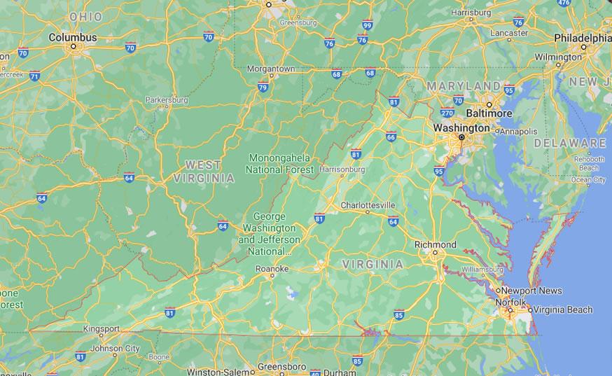 google map of Virginia